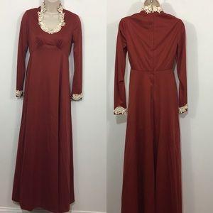 Vintage scoop neck lace trim maxi dress red size 6
